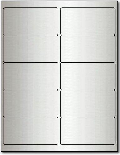 "4"" x 2"" Silver Foil Labels for Laser Printers - 10 Sheets / 100 Labels"