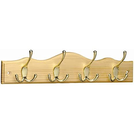 Brainerd RPMS4EZ-PNB-B 4 Tri-Hook Scalloped Top Rail/Coat Rack