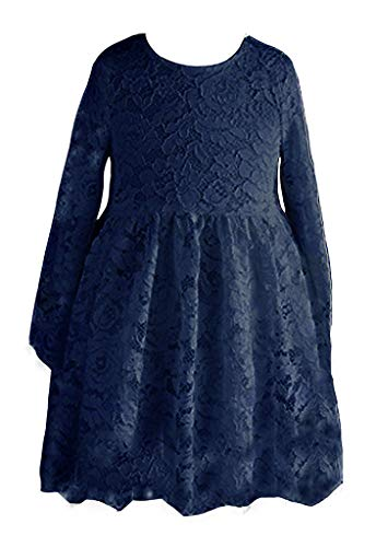 Happy Rose Flower Girl Lace Dress Country Dresses Junior Bridesmaid Long Sleeve Navy Blue 10 Years ()