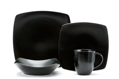 Red Vanilla Black Rice 16-Piece Dinnerware Set (Dishes Black And Red)