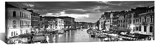 Venice Skyline City Canvas Wall Art Decor 14 x48 Black and White Waterfront Cityscape Coastal CA, USA Pictures Artwork Painting Poster for Bedroom Office Decoration Stretch Framed Ready to Hang