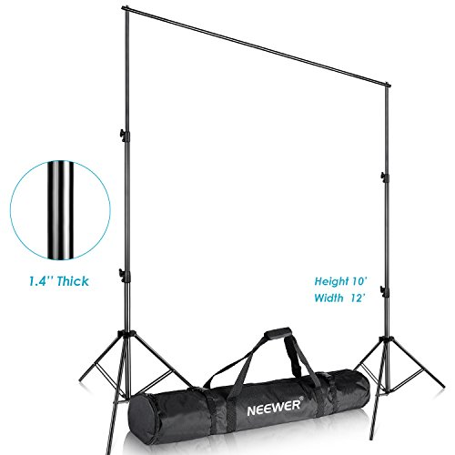 Neewer Pro 10x12 feet/3x3.6 Meters Heavy Duty Adjustable Backdrop Support System Photography Studio Video Stand with Carrying Bag for Backdrop Background