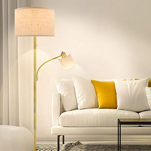 DLLT LED Modern Floor Lamp with Adjustable Reading Light, 9W+5W LED Bulb, Energy Saving, Contemporary Industry Standing Lamp for Living Room, Bedroom Reading, E26 Warm Light, Gold, Fabric,US Plug in