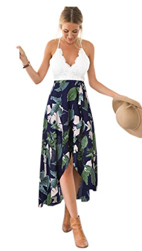 (Blooming Jelly Women's Sleeveless Deep V Neck Spagehtti Strap Halter Criss Cross Summer Asymmetrical Floral Party Maxi Dress(S, Multicolor))