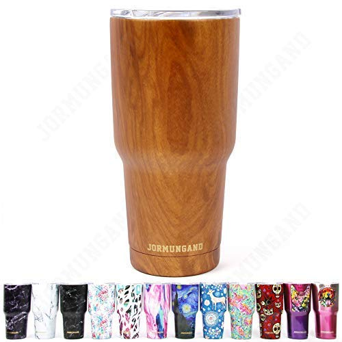 (Jormungand Tumbler 30oz Stainless Steel Vacuum Insulated Travel Mug with Straw Friendly Lid Double Wall Coffee Cup Wood Grain)