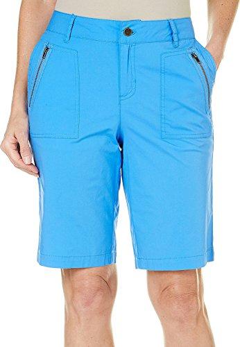 Caribbean Joe Women's High Density Poplin Bermuda Skimmer Short, Blue Iolite, - Shorts Bermuda Poplin