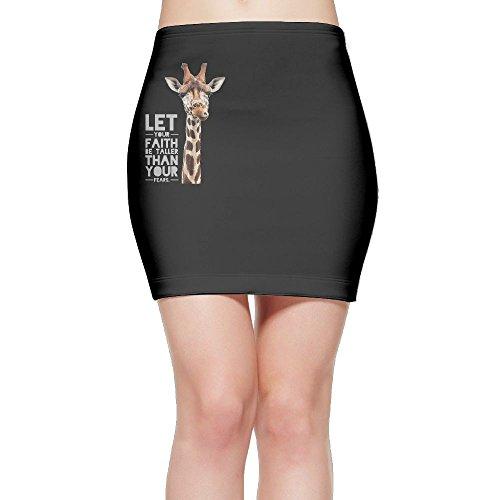 Teehe4d Giraffe Faith Taller Women's Scuba Knit Graphic Print Skirt (Giraffe Print Skirt)