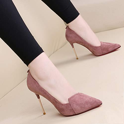 Metal Yukun Pink De Bajo De Zapatos Negros De Boda zapatos alto De Zapatos Tacón Zapatos Puntiagudos Tacón Alto Bajo tacón Mujer Tacón de De Zapatos r7Sxfrp