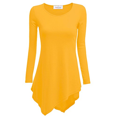 Women's Handkerchief Hem Tunic Top Long Sleeve Crewneck By Red Hanger-Mustard-S (Shirt Mustard Girl)