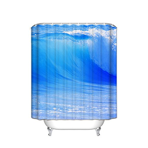 Ocean View Bath - JANNINSE Ocean view bathroom accessories shower curtain, clear and transparent navy blue seawater in constant turning flow, antibacterial fabric, 54