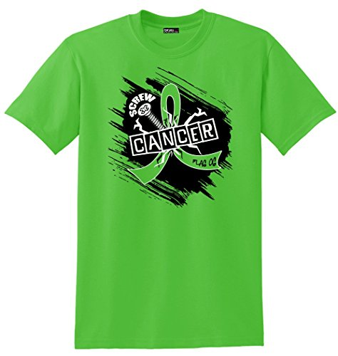 General Cancer Ribbon - Fight Like a Girl Screw Cancer Non-Hodgkin's Lymphoma, General Lymphoma Awareness Unisex T-Shirt - Lime Green [XL]