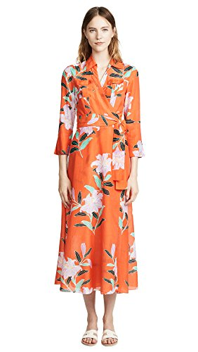 Diane von Furstenberg Women's Collared Wrap Dress, Argos Clementine, Petite