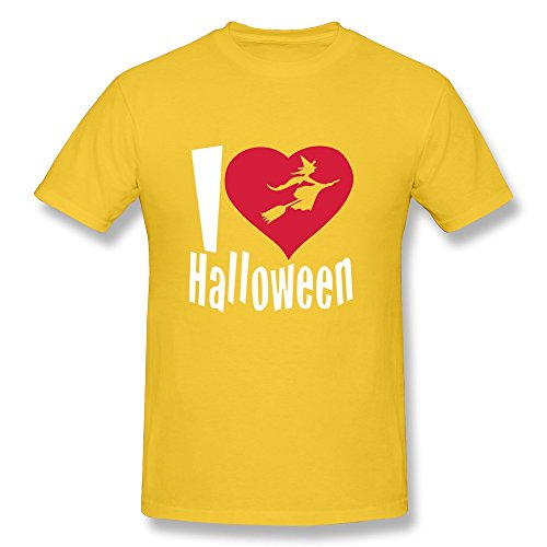 Happy Halloween O Neck Men T-Shirt Yellow Size M Cute By -