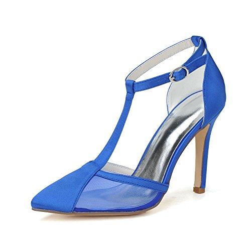 Femmes Pointu Dentelle Chaton Bleu F0608 Mariage Hauts Nuit Plate Talons forme De Avec Des L Fête 04 Et Sandales Et Svhs CtOqwx