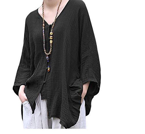Shirt Jimma Longues en Chemise Chemise Coton Couleur dcontract Longues Noir col Unie Shirt Manches irrgulire boutonne en Vrac T Manches V Sweat xwrxg