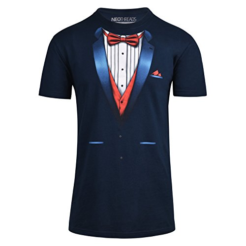 NEOTHREADS Premium Navy Fitted Tuxedo T-Shirt on Super Soft Cotton Shirt (Printed Tux Tshirt)