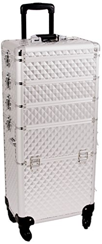 SUNRISE Makeup Case on Wheels 4 in 1 Professional Organizer I3361 Aluminum, 3 Stackable Trays with Adjustable Dividers, Locking with Mirror, Silver Diamond by SunRise
