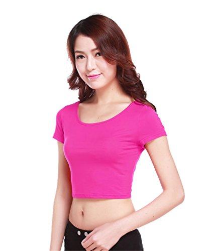 GladThink la mujer musulmana camiseta de manga corta de media longitud y Rosa
