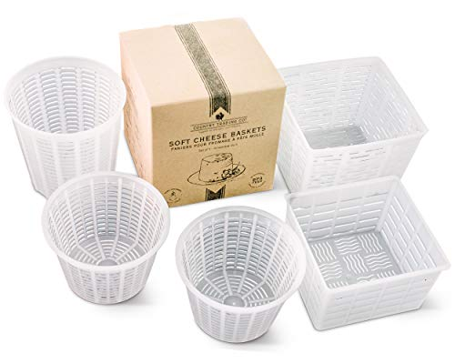 Cheese Maker Molds Set of 5 - For Draining Ricotta Sour Cream and Quark - Press Indian Paneer Queso Goat Crottin Kefir Vegan Ricotta Cashew or Almond Cheese - Italian Soft Cheese Draining Basket Set