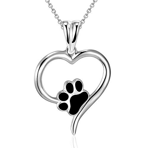 Sterling Silver Forever Love Heart Dog Puppy Paw Pendant Necklace, Rolo Chain 18''