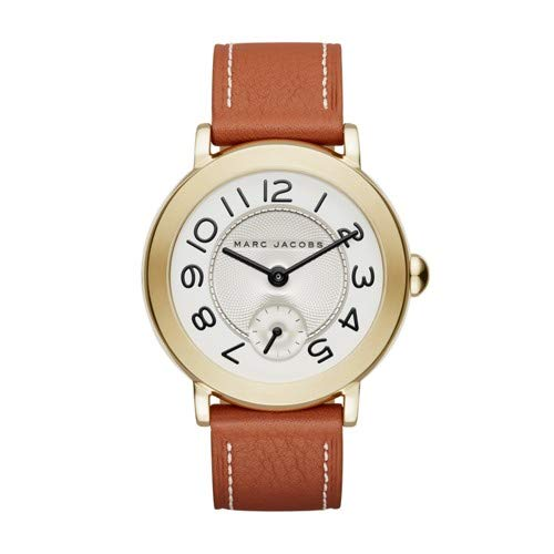 'Riley' Quartz Stainless Steel and Leather Casual Watch, Color Brown (Model: MJ1574) ()