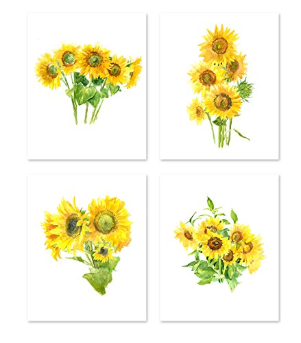 (AtoZStudio A21 Sunflower Wall Art - set of 4 Prints - Yellow Flower Postrer Decor- Nature Kitchen Bedroom Living Room Paintings - Watercolor Artwork Picture (8x10))