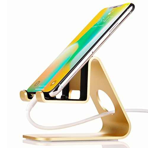 Multi-Angle Cellphone Stand,Jokitech S1 Universal Tabletop Charging Dock Holder for Kindle Fire PaperWhite Nintendo Switch SONY PSP iPad Android Smartphones iPhone X 8 8Plus Accessories Desk -Gold