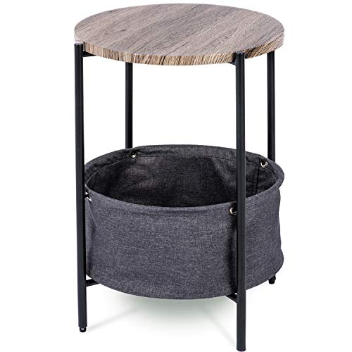 Urest Side Table with Fabric Storage / Modern Round End Table / Night Stand / Coffee Table, Grey