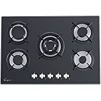 Empava 30 Black Tempered Glass 5 Italy Sabaf Burners Stove Top Gas Cooktop EMPV-30GC5QB