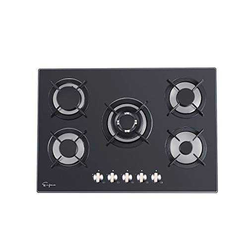 Empava 36' Black Tempered Glass 5 Italy Sabaf Burners Stove Top Gas Cooktop EMPV-36GC204