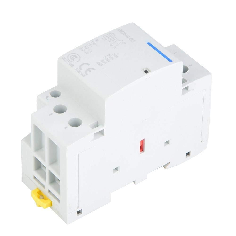 63A Din Rail AC Contactor 2 polos, Din Rail Contactor AC 1NO 1NC 50 / 60HZ(220V/230V)