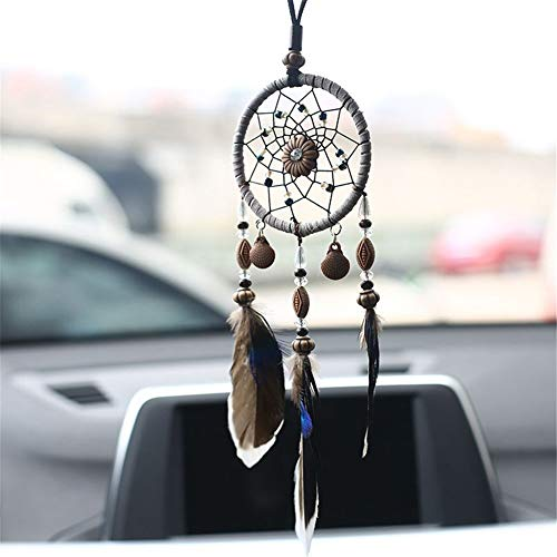 Yunhigh Dream Catcher for Car Mirror, Handmade Floral Dream Catcher with Shells Beads & Feather Tassel Boho Chic Hanging Decorative Ornament Wind Chime for Bedroom Baby Shower Party ()