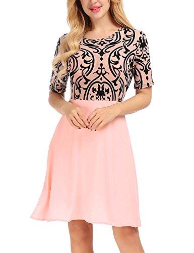legant Ladies Flocked Print Mesh Short Sleeve Round Neck Prom Party Flare Mini Dress Pink Small ()