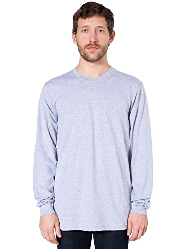 American Apparel Fine Jersey Long Sleeve T-Shirt-Heather Grey for sale