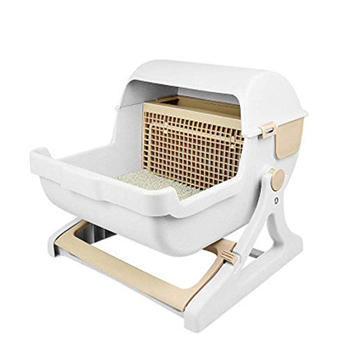 HYLJY Large Semi-Automatic Cat Toilet Semi-Closed Litter Box Pet Toilet Quick Cleaning Simple and Generous Design Environmentally Friendly Materials,Beige