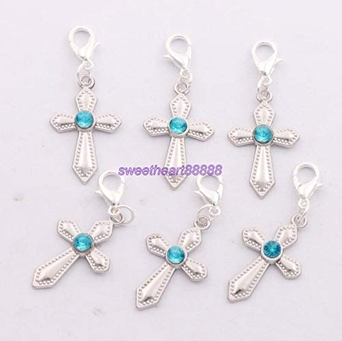 Calvas 48ps 6Colors Silver Plated Rhinestone Sword Cross Clasp European Lobster Trigger Clip On Charm Beads C1554 16x40mm - (Color: Blue) ()