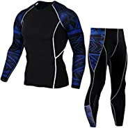 Men's Outdoors 2 Pieces Sports Fashion Running Compression T-Shirts+Pants