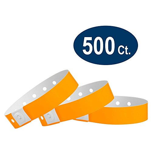 WristCo Neon Orange Plastic Wristbands - 500 Pack Wristbands for Events -