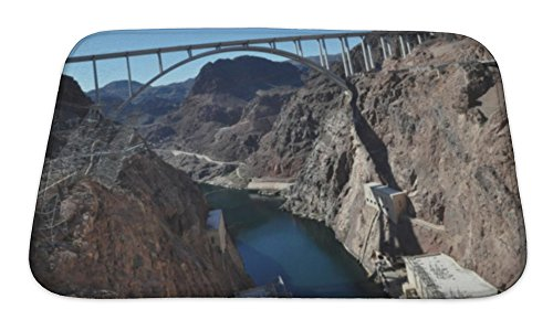 Micro Bridge Engineering (Gear New Bath Rug Mat No Slip Skid Microfiber Soft Plush Absorbent Memory Foam, Mike Ocallaghanpat Tillman Memorial Bridge At Hoover Dam, 24x17)