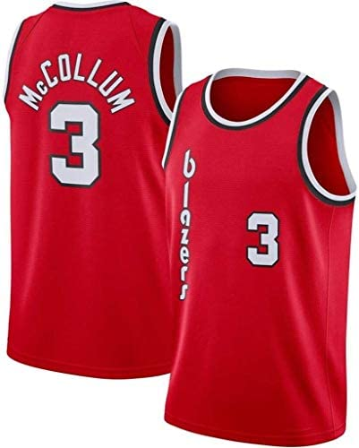 NBAバスケットボールレッドバージョンジャージーポートランドトレイルブレイザーズ3#CJマッカラムノースリーブスポーツジムベストフィットネスTシャツファンバスケットボールトップ (Color : M:175cm/65~75kg)