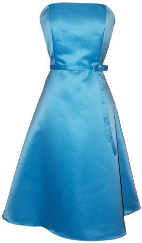 50s Strapless Satin Bridesmaid Bridesmaid Dress Homecoming, 2X, Aqua