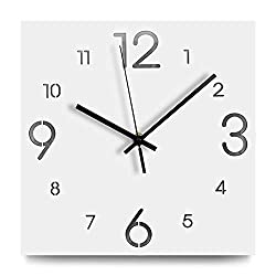 FlorLife Large Decorative Wall Clocks 12 Inch Silent Sweep Hanging Clock White Digital Quality Quartz Battery Operated Wooden Square Soundless Clocks Easy to Read