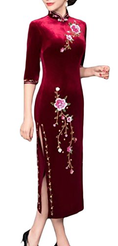 Fit Dress Embroidery Red4 Long Women Traditional Party Cromoncent Cheongsam Vintage Slim Qipao qvgBn7ax0