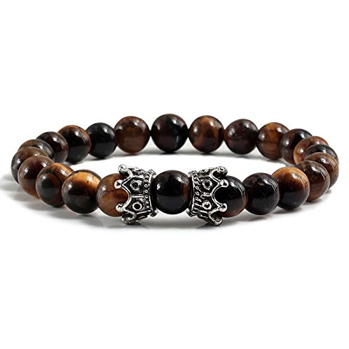 (Zozu Couple Distance Natural Stone Bracelet Charm Black Lava Tiger Eye Bead Crown Bracelets Bangles for Men Women Yoga Prayer Jewelry (Tiger Eye Sliver))