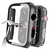 YMHML Compatible with Apple Watch 38mm Series 3/2/1 Case with Built-in Tempered Glass Screen Protector, Thin Guard Bumper Full Coverage Matte Hard Cover for iWatch Accessories