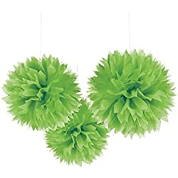 "Unique Industries 16"" Poms Large Fluffy Pom Pom Hanging Decorations Tissue Paper Pom Flowers For Celebrate Decoration Fluffy Hanging Lantern Party/Wedding Blooms Ball (Lime Green 3ct)"