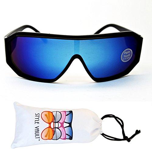 [A3059-vp Style Vault Turbo Aviator Sports Fashion Sunglasses (B3266F Black-blue, UV400)] (Robocop Halloween Costume)