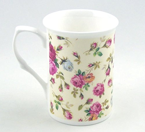 Fine English Bone China Mug - Rose Basket Cream -