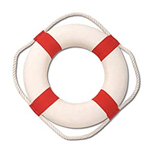 """10"""" Red and White Life Preserver Ring for Tropical Beach Decor or Pool Party"""