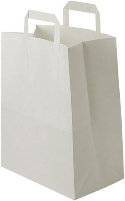 BIOZOYG Bolsas Papel Blanco con Asa I Bolsa Papel respetuosa del Medio Ambiente Hecha de Papel Kraft I Bolsa Regalo Biodegradable, Bolsas compostable I 250 x Bolsas Papel Blanco con Asa de 18x8x22 cm